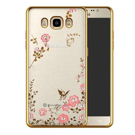 Etui na Galaxy J5 2016  silikonowe platynowane Kwiaty - złoty.