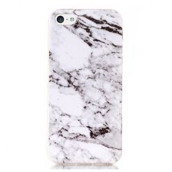 Etui na iPhone 5c silikonowe TPU marmur - biały.