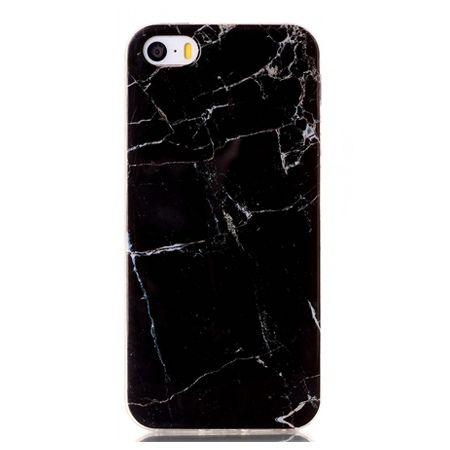 Etui na iPhone 5 / 5s silikonowe TPU marmur - czarny.