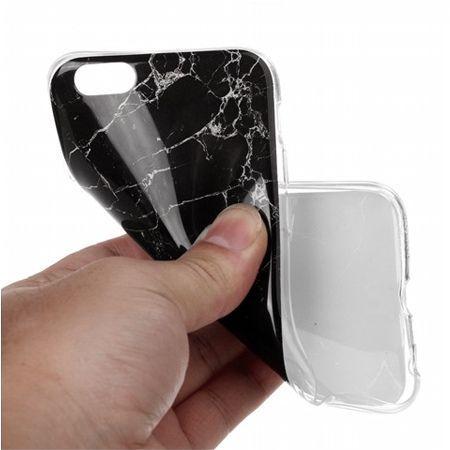 Etui na iPhone 7 silikonowe TPU marmur - czarny.