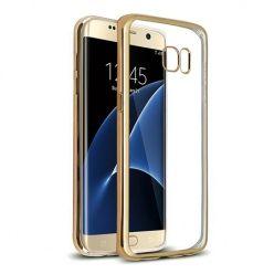 Samsung Galaxy S7 Edge przezroczyste etui platynowane SLIM - złoty.