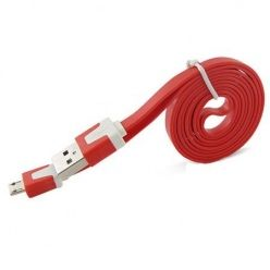 Płaski kabel do ładowania micro USB 3m - Czerwony.