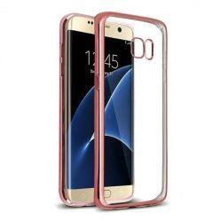 Samsung Galaxy S7 Edge przezroczyste etui platynowane SLIM - różowy.