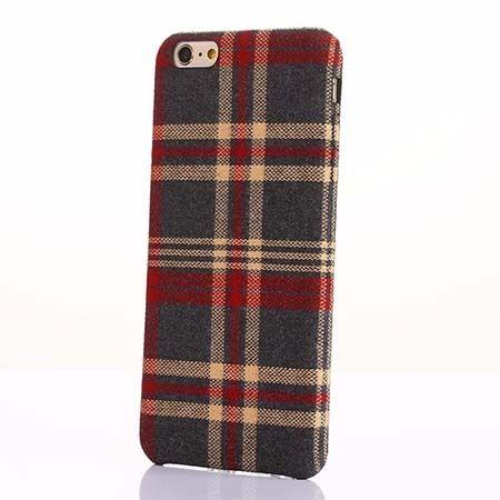 Etui na iPhone 6 Plus Canvas materiałowe elastyczne - Czerwona krata.