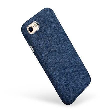 Etui na iPhone 7 Canvas materiałowe elastyczne - Jeans granatowy.