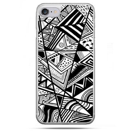 Etui na telefon iPhone 8 - czarno białe trójkąty
