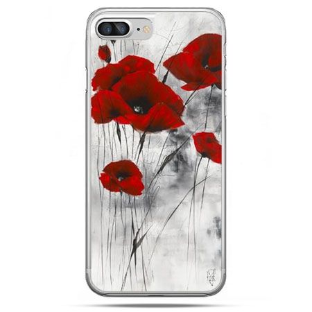 Etui na telefon iPhone 8 Plus - czerwone maki