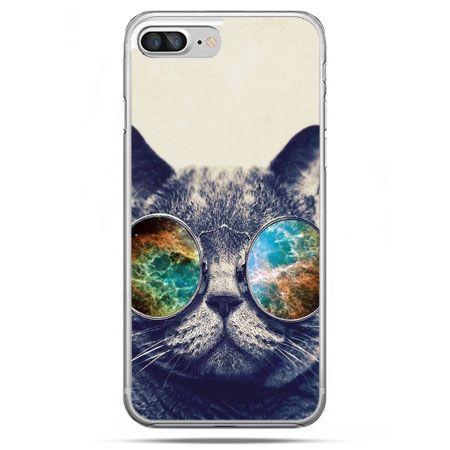 Etui na telefon iPhone 8 Plus - kot w tęczowych okularach