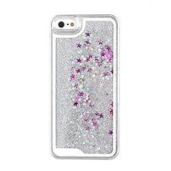 iPhone 8 etui z ruchomym płynem w środku Stardust srebrny brokat.