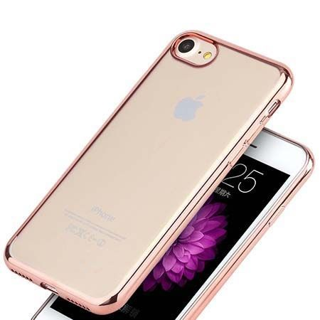 Etui na iPhone 8 silikonowe platynowane SLIM kolor - Rose Gold - Różowy.