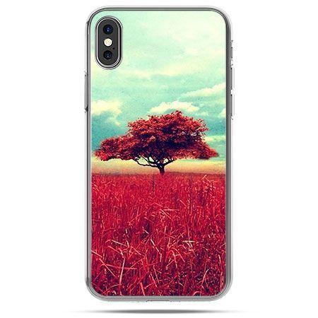 Etui na telefon iPhone X - czerwone drzewo