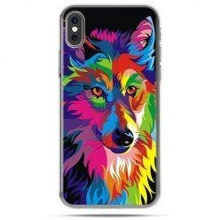 Etui na telefon iPhone X - neonowy wilk