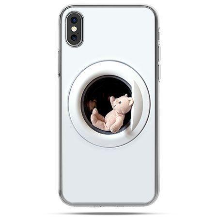 Etui na telefon iPhone X - miś w pralce