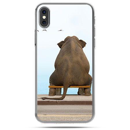 Etui na telefon iPhone X - zamyślony słoń