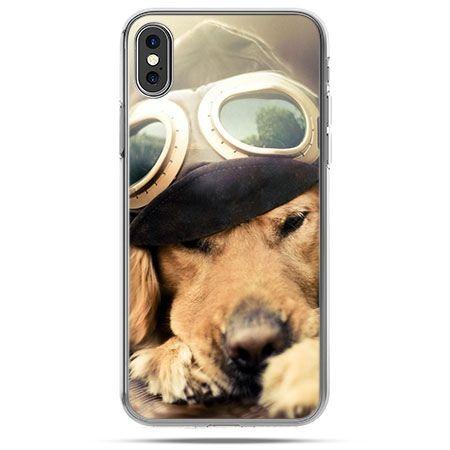 Etui na telefon iPhone X - pies w okularach