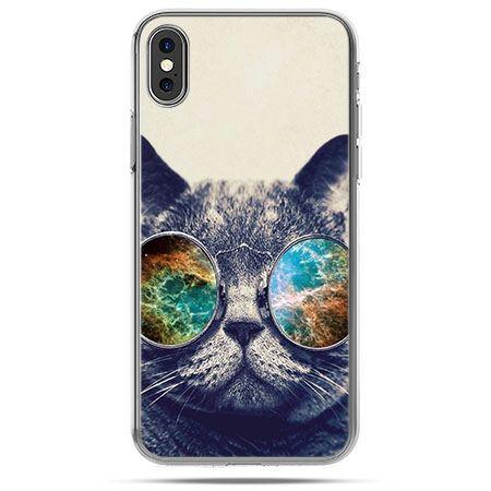 Etui na telefon iPhone X - kot w tęczowych okularach