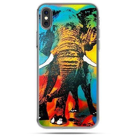 Etui na telefon iPhone X - kolorowy słoń