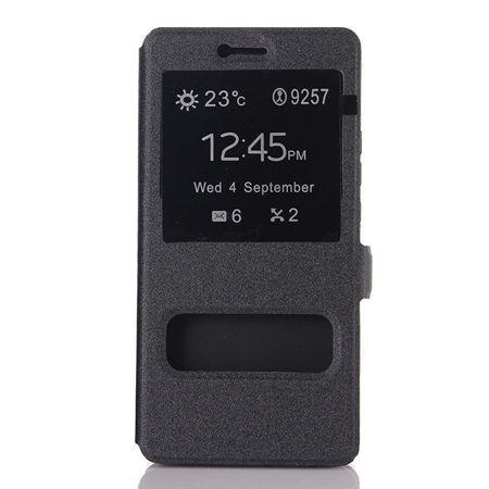 Huawei P10 Lite etui Flip Quick View z klapką dwa okienka - Czarny.