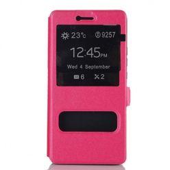 Huawei P10 Lite etui Flip Quick View z klapką dwa okienka - Różowy.