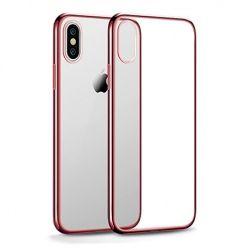 Etui na iPhone X - silikonowe platynowane SLIM - Różowy.