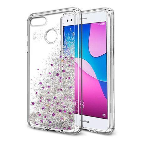 Eui na telefon Huawei P9 Lite 2017 z ruchomym płynem w środku Stardust - Srebrny brokat.