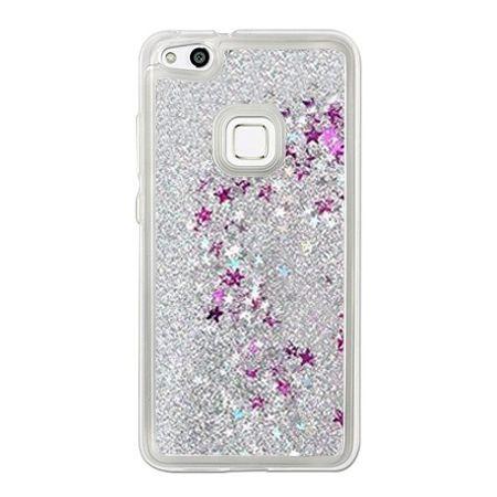 Eui na telefon Huawei P10 Lite z ruchomym płynem w środku Stardust - Srebrny brokat.