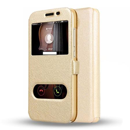 Etui na Huawei Y6 II Compact - Flip Quick View z klapką dwa okienka - Złoty.