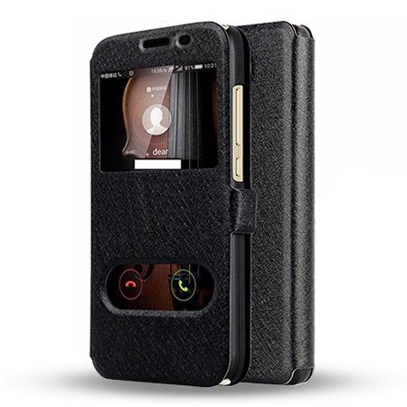 Etui na Huawei Y6 II Compact - Flip Quick View z klapką dwa okienka - Czarny.