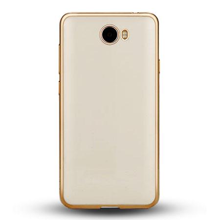 Etui na Huawei Y6 II Compact - silikonowe platynowane SLIM - Złoty.