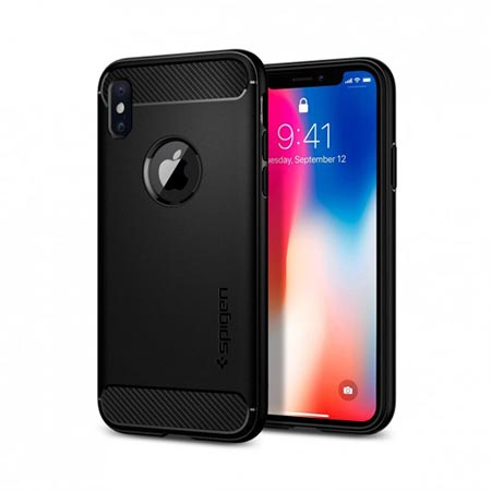 Etui na iPhone X Spigen Rugged Armor - Czarny