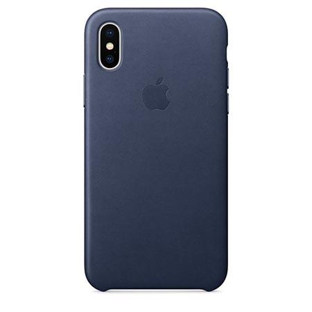 Oryginalne etui Apple na iPhone X Leather Case - Skórzane Granatowy