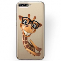 Etui na Huawei Y6 2018 - Wesoła żyrafa w okularach.