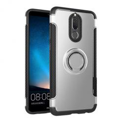 Etui na Huawei Mate 10 Lite - Pancerne Magnet Ring - Srebrny.