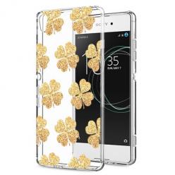 Etui na Sony Xperia XA1 - Złote koniczynki