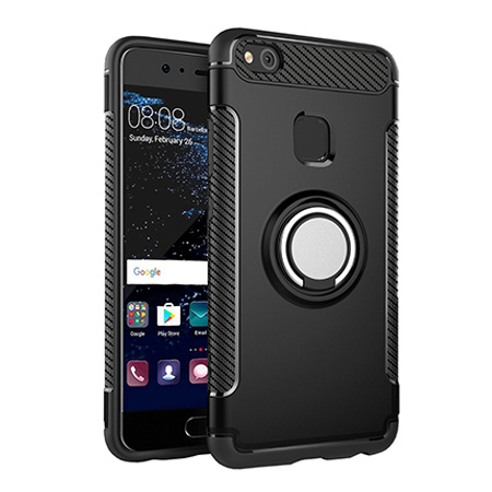 Etui na Huawei P10 Lite - Pancerne Magnet Ring - Czarny.