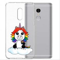 Etui na telefon Xiaomi Note 4X - Tęczowy jednorożec na chmurce.