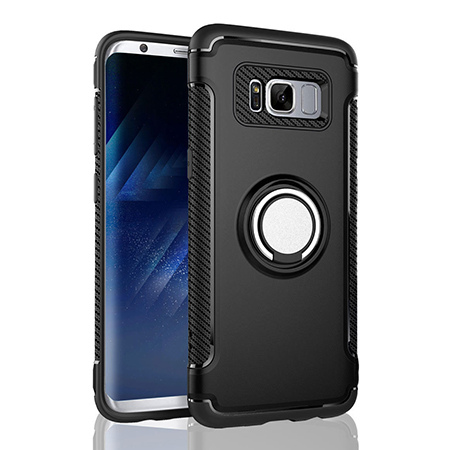 Etui na Samsung Galaxy S8 Plus - Pancerne Magnet Ring - Czarny.