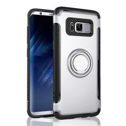 Etui na Samsung Galaxy S8 Plus - Pancerne Magnet Ring - Srebrny.