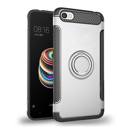 Etui na Xiaomi Redmi Note 5A - Pancerne Magnet Ring - Srebrny.