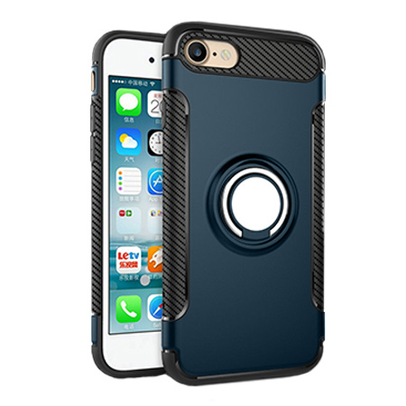 Etui na iPhone 7 - Pancerne Magnet Ring - Niebieski stalowy.