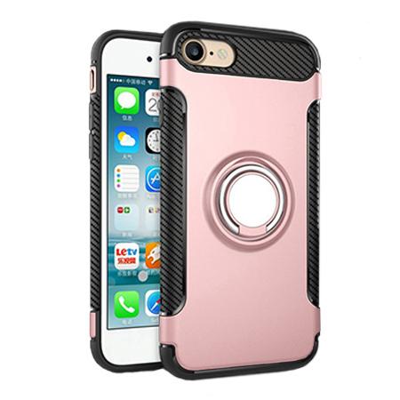 Etui na iPhone 7 - Pancerne Magnet Ring - Różowy.