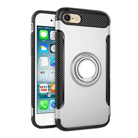 Etui na iPhone 8 - Pancerne Magnet Ring - Srebrny.