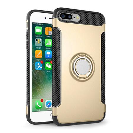 Etui na iPhone 8 Plus - Pancerne Magnet Ring - Złoty.