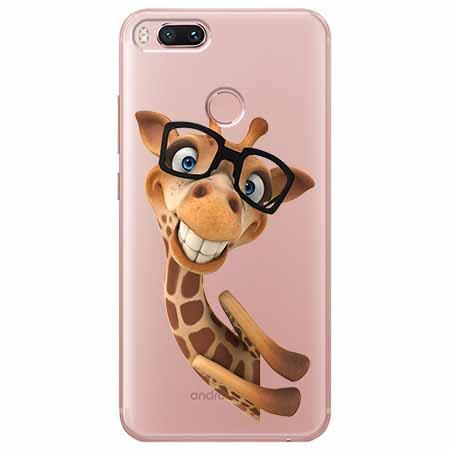 Etui na Xiaomi Mi A1 - Wesoła żyrafa w okularach.