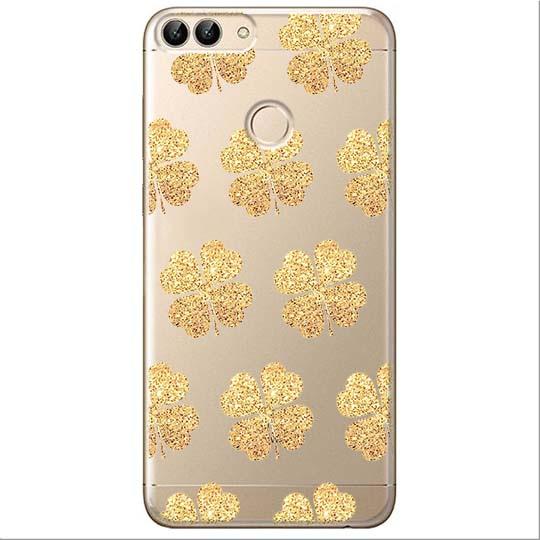 Etui na Huawei P Smart - Złote koniczynki.