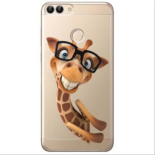 Etui na Huawei P Smart - Wesoła żyrafa w okularach.