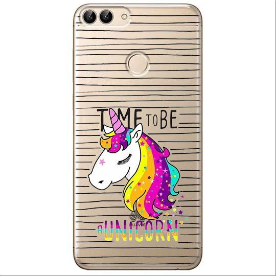 Etui na Huawei P Smart - Time to be unicorn - Jednorożec.