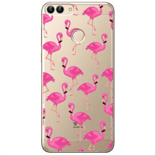 Etui na Huawei P Smart - Różowe flamingi.