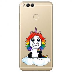 Etui na Huawei Honor 7X - Tęczowy jednorożec na chmurce.