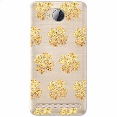 Etui na Huawei Y3 II - Złote koniczynki.